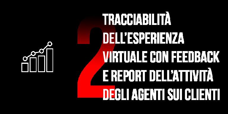 Tracciabilità dell'esperienza virtuale con feedback e report dell'attività degli agenti sui clienti